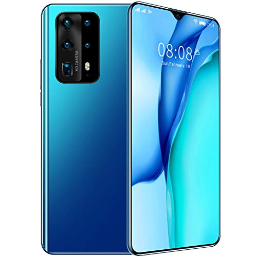 ZXYSR P 40 Pro Telefonos Moviles Libres 4G, Pantalla De Gota De Agua De 7.0 Pulgadas 13MP + 24MP Píxeles Telefono Movil 4 GB + 128 GB Batería De 4800Mah Doble SIM, Móviles Baratos,Azul