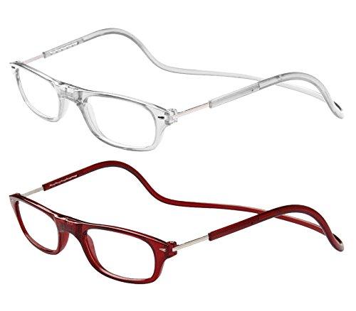 TBOC Pack: Gafas de Lectura Presbicia Vista Cansada – (Dos Unidades) Graduadas +1.50 Dioptrías Montura Transparente y Burdeos Hombre Mujer Imantadas Plegables Lentes Aumento Leer Ver Cerca Cuello Imán