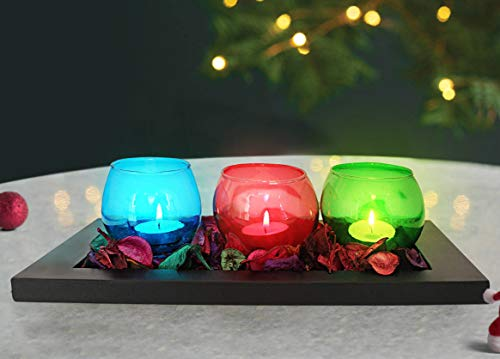 TIED RIBBONS Pack of 3 Votive Glass Tealight Candle Holder with Wooden Tray and Potpourri - Votive Tealight Candle Holders for Table Centerpiece Wedding, Parties Diwali Lighting Decoration