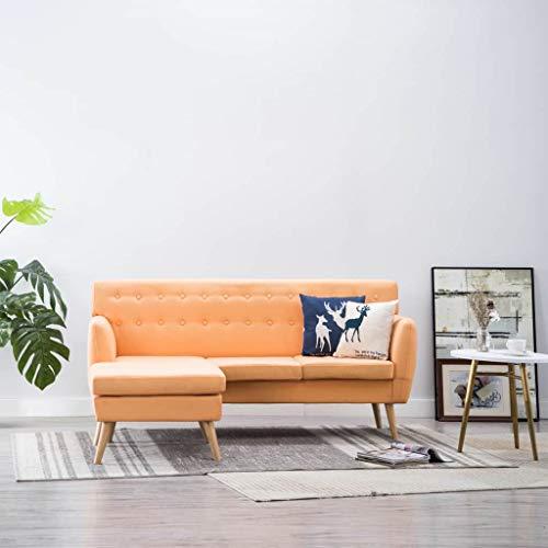Daonanba Canapé d'angle Revêtement en Tissu Canapé d'angle 3 Places pour Salon Bureau Jardin - 171,5x138x81,5 cm (Orange)
