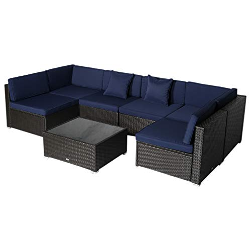 Outsunny 7-Piece Outdoor Wicker Patio Sofa Set, Modern Rattan Conversation Furniture Set with Cushions, Pillows and Tea Table, Dark Blue