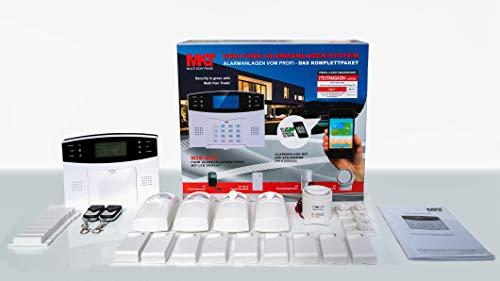 GSM Funk-Alarmanlage Set von Multi Kon Trade I Alarmanlage Komplettsystem M2B SET-4 I Funk Alarmanlage mit Bewegungsmelder, Tür- und Fensterkontakt, Fernbedienung, externe Sirene und App Steuerung