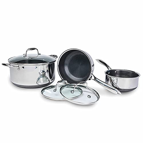 HexClad 6-Piece Hybrid Cookware Set - 2, 3, and 8 Qt Pot Set with 3 Glass Lids, Stay-Cool Handle, Nonstick - PFOA Free, Dishwasher, Oven Safe, Works with Induction, Ceramic, Electric, and Gas Cooktops