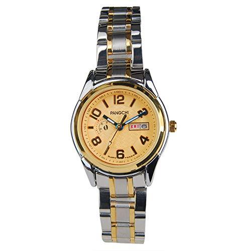 TWCAM Acero Cuero Pulsera Hombre- Reloj De Correa De Acero para Hombres, Reloj Digital De Cuarzo para Mujer, Resistente Al Agua, No Mecánico, Oro Y Oro