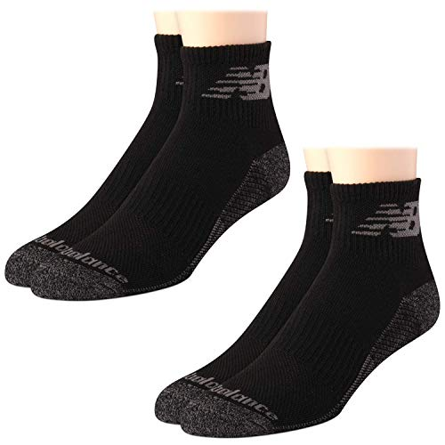 New Balance Men's Athletic Cushion Comfort Quarter Cut Socks with Cooling Technology (2 Pack), Black, Size Shoe Size: 6-12.5'