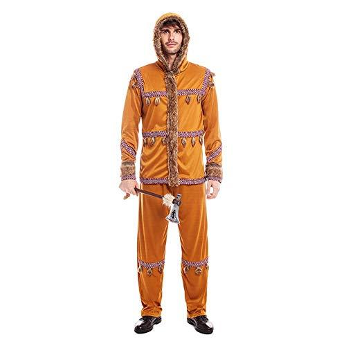 Disfraz Esquimal Hombre Uniforme con GorroTallas Adultos de S a L[Talla S] Disfraz Hombre Carnaval Nacionalidades Inuit Desfiles Teatro Actuaciones Regalo