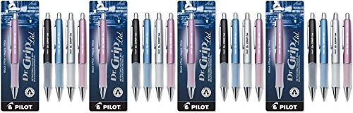 PILOT Dr. Grip Limited Refillable & Retractable Gel Ink Rolling Ball Pen, Fine Point, Assorted Barrel, Black Ink, Single Pen (36274) - 4 Pack