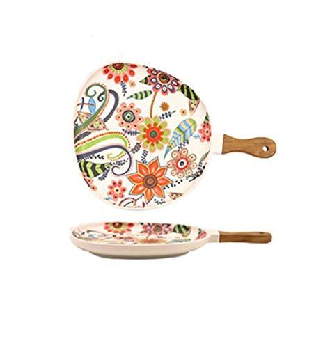 JSJJAUA Plato de Cena Placas de Ensalada de cerámica con Mango, Placas de Cena de Porcelana, Placa de porción de patrón Floral Colorido para postres sándwiches (Color : Water Drop Large)