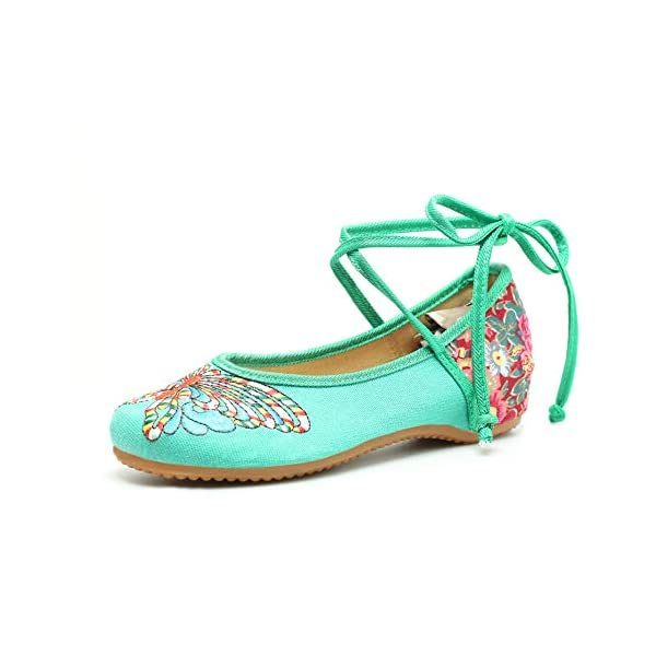 CINAK Embroidered Chinese Style Loafers Shoes Butterfly Embroidery Ballet Round Toe Flats