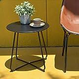Runder Couchtisch Nordischer Beistelltisch Langlebige Metallrahmen Möbel Kleiner Raum Tee-Esstisch für Wohnzimmer Schlafzimmer Patio Garten(Schwarz)