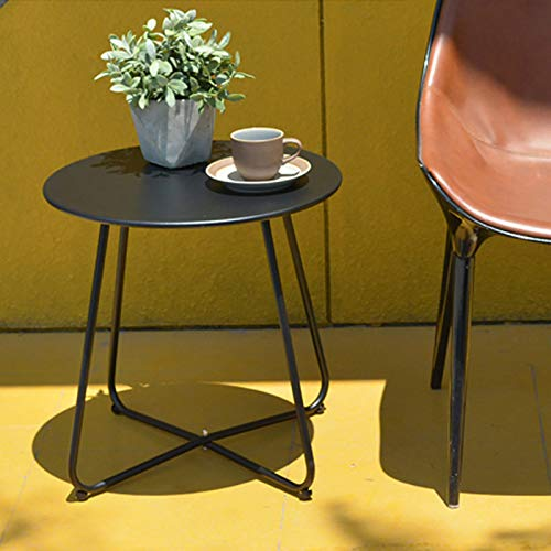 Round Coffee Table Nordic Style Side End Table Durable Metal Frame Furniture Small Space Tea Corner Table for Living Room Bedroom Patio Garden(Black)