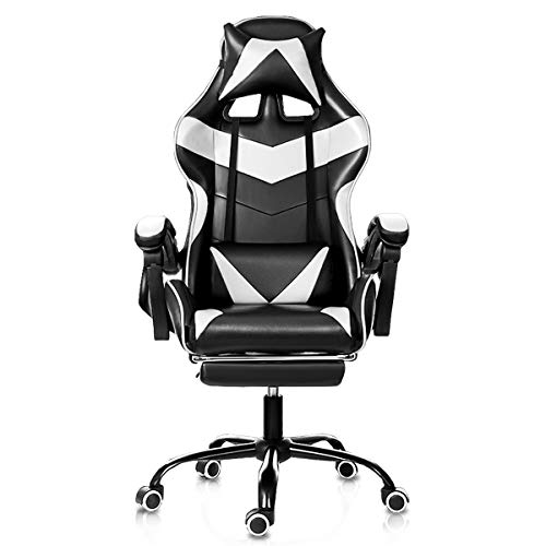 HALLOLURE Gaming Chair, Gamer Chair Computer Chair Ergonomically Designed Office Chair with Footrest and Headrest and Lumbar White