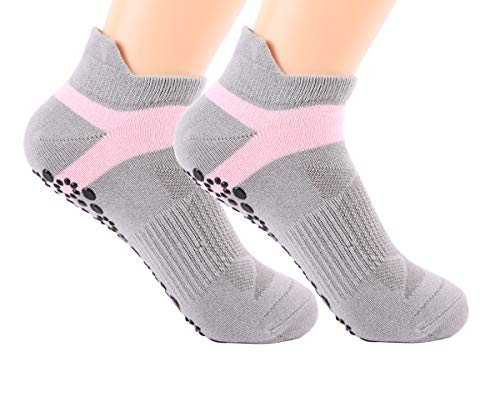 Yoga Socks for Women Non Slip Skid Socks with Grips for Sports Pilates Pure Barre Ballet Dance Barefoot Workout (2 Pairs (Pink))