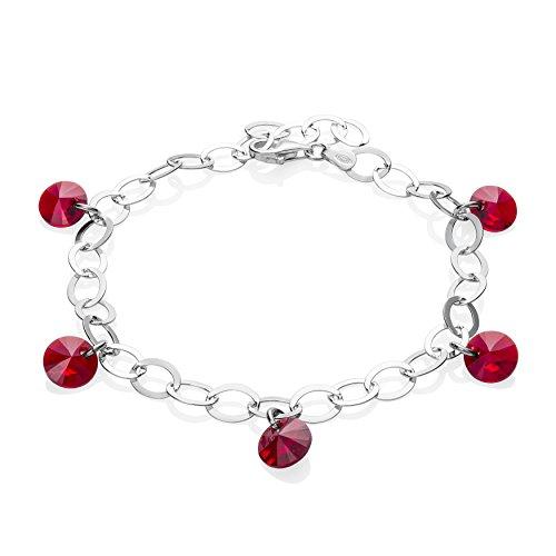 LillyMarie Mujer Pulsera Plata 925 Cristales de Swarovski Elements Rojo Rubí Papel...