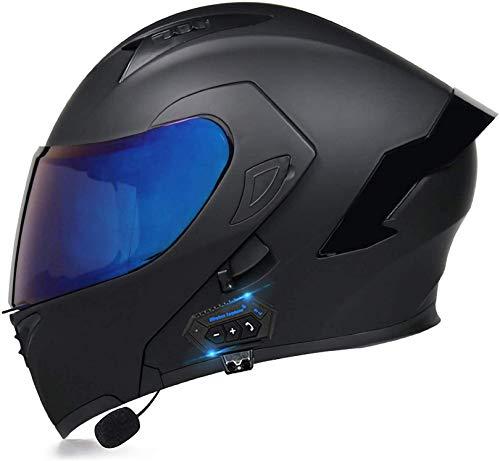 XLYYHZ Casco Bluetooth para Motocicleta, Casco Completo Modular con Visera Solar Doble Tipo abatible, Casco Certificado por Dot, Respuesta automática Manos Libres 18, M-57-58cm