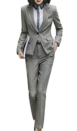 SUSIELADY Women's Two Piece Plaid Open Front Long Sleeve Blazer and Elastic Waist Pant Set Suit Yellow
