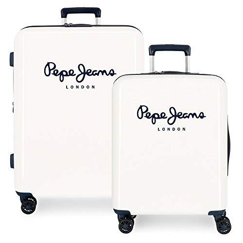 Pepe Jeans Albert Juego de Maletas Beige 55/70 cms Rígida ABS Cierre TSA Integrado 119,5L 7,1 kgs 4 Ruedas Dobles Equipaje de Mano