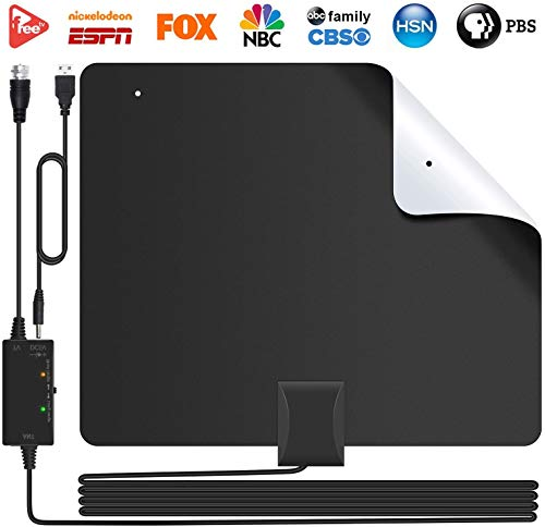 2020 Newest Best 80 Miles Long Range TV Antenna Freeview Local Channels Indoor Basic HDTV Digital Antenna for 4K VHF UHF with Detachable Ampliflier Signal Booster Strongest Reception