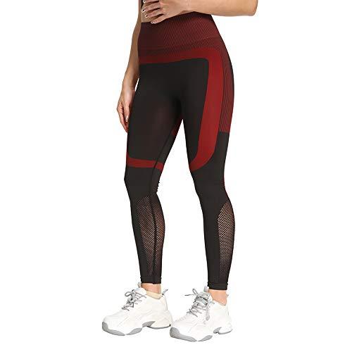 XLanY Pantalones de Yoga sin Costuras de Cintura Alta para Mujer, Entrenamiento de Control de Abdomen, Mallas de Yoga para Correr Suaves, Deportes de Fitness, Gimnasio, Ropa Deportiva,Rojo,Large