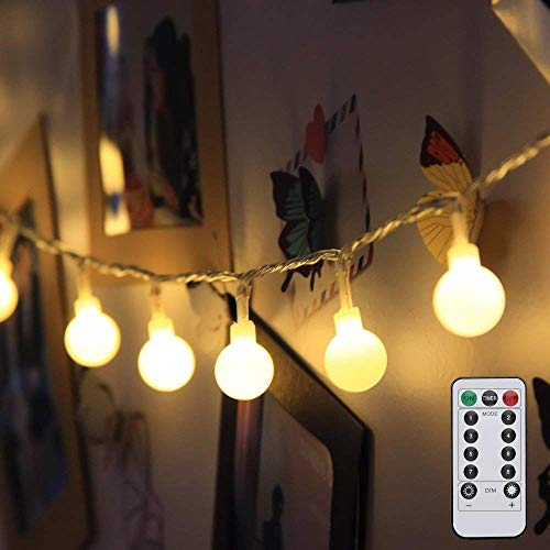 LE Globe String Lights, Battery Powered, Ball String Lights with Remote, Timer and 8 Modes, 16.4ft 50 LED, Indoor Outdoor Decorative Fairy Lights for Bedroom, Patio, Christmas and More (Warm White) (Testing Trailer Lights With A 12 Volt Battery)