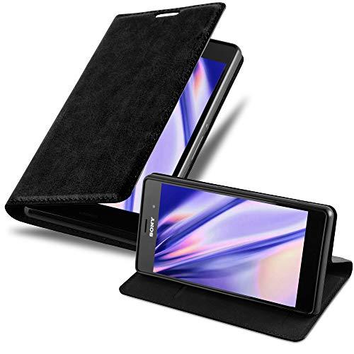 Cadorabo Hülle für Sony Xperia Z3 in Nacht SCHWARZ - Handyhülle mit Magnetverschluss, Standfunktion & Kartenfach - Hülle Cover Schutzhülle Etui Tasche Book Klapp Style