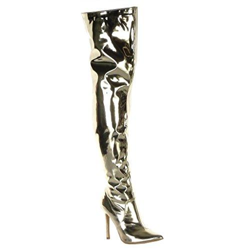 Angkorly - Damen Schuhe Oberschenkel-Boot Stiefel - Stiletto - Gummistiefel - Oberschenkel-Boot - glänzende - Patent Stiletto high Heel 11 cm - Gold J46-6 T 36