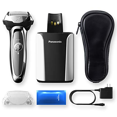 Panasonic Arc5 Electric Razor for Men, 5 Blades Shaver and Trimmer, shave sensor Technology, Automatic Clean and Charge Station, Wet Dry, ES-LV95-S