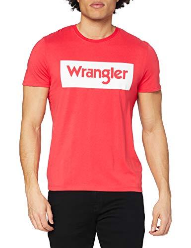 Wrangler Logo tee Camiseta, Rococco Red, XL para Hombre