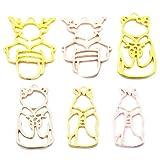 Fugift 14 unids/set gato gatito forma cristal pegamento marco metal bisel colgante, collar epoxi UV hueco material para hacer joyas