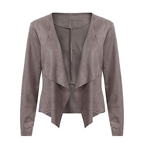 iHENGH Damen Herbst Winter Bequem Mantel Lässig Mode Jacke Frauen Langarm Leder Open Front Kurze Strickjacke Anzugjacke Arbeitsamt Mantel