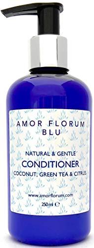 Natural ACONDICIONADOR - COCO, CÍTRICOS & TÉ VERDE - 250ml de AMOR FLORUM BLU. Sin Sulfatos, Sin Parabenos, Sin Silicona. Concentrado. pH 5.2-5.7 para Pieles Sensibles. 99,5% Derivado de Plantas.