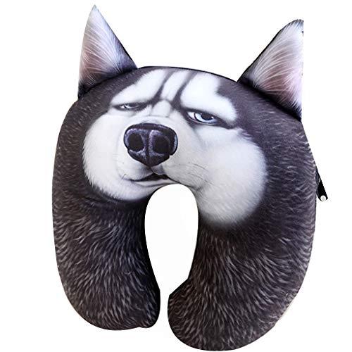 JUAN Pillow 3D Hund Nickerchen Kissen ist geeignet für Reisen und Freizeit Reisen nach Hause Entspannung Massage Zervikales kleines Volumen einfach zu speichern niedlichen Cartoon Reisekissen