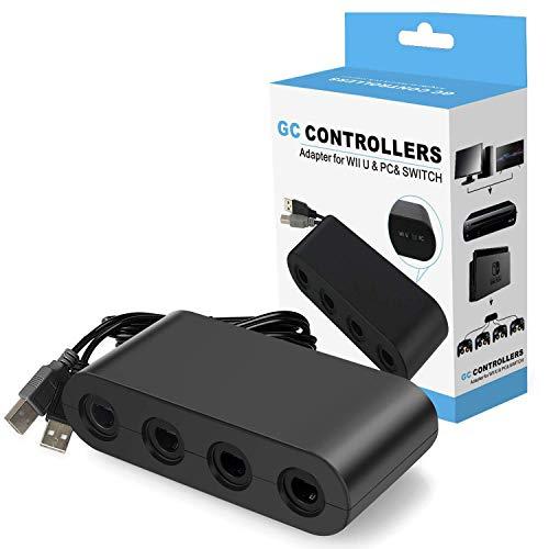 Adaptador de controlador para Gamecube, Super Smash Bros NGC controlador adaptador para Nintendo Switch, Wii U y PC USB con 4 puertos - Plug & Play, no necesita controladores