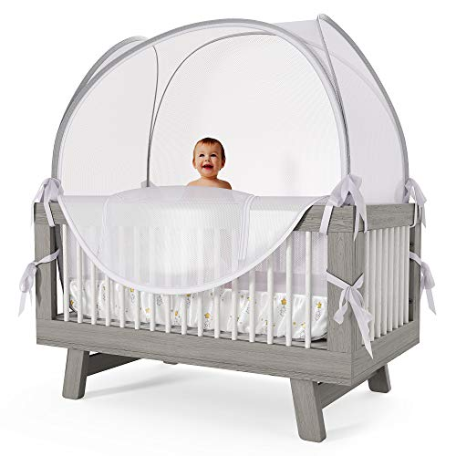 Nahbou Baby Crib Tent - Crib Canopy: Net Cover Crib Tent to Keep Baby from Climbing Out and Safety Crib Tent to Keep Cats Out. Popup Crib Net and Crib Cover Protects Against Mosquito Bites & Toddlers