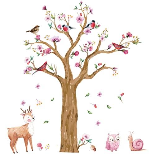 WandSticker4U®- XXL Wandtattoo Kinderzimmer GROSSER Aquarell BAUM in Braun I Wandbild: 145x170 cm I Wandsticker Mädchen Junge Blumen Wald-tiere Reh Eule I Wand Aufkleber Baby-zimmer Deko