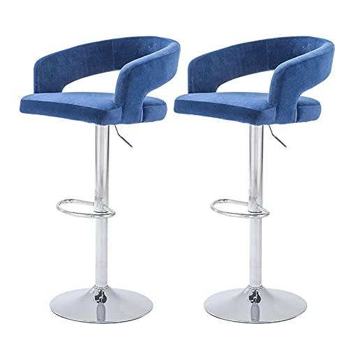 WWJZXC Juego de 2 taburetes de Bar, sillas de Cocina con Estructura de Metal Resistente, Funda de Terciopelo, reposapiés, Altura del Asiento Ajustable (25'-33,5'), fácil Montaje, Retro Azul
