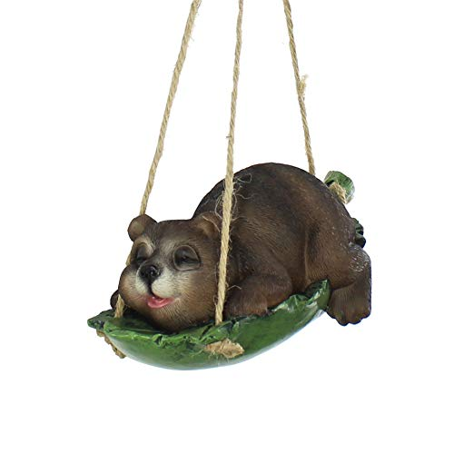 XAUIIO Swing Simulation Cute Resin Sloth Bear Outdoor Garden Statue Landscape Hanging Decoration, Creative Home Animal Statue Gifts