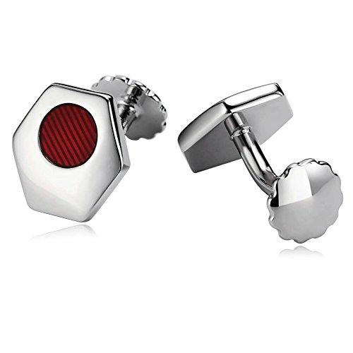 Blisfille 2 Pieza Joyas para Hombre Acero Gemelo Reloj Gemelo Hugo Boss para Regalo Hombre Gemelos de Rojo