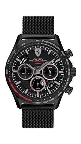 Ferrari Men's Quartz Watch with Stainless Steel Strap, Black, 22 (Model: 0830827)