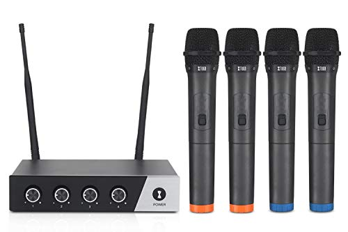 XTUGA S400 Wireless Microphone System, 4-Channel UHF Cordless Mic Set with Four Handheld Mics, Fixed Frequency, Long Range 260ft, Ideal for Church,Karaoke,Weddings, Events