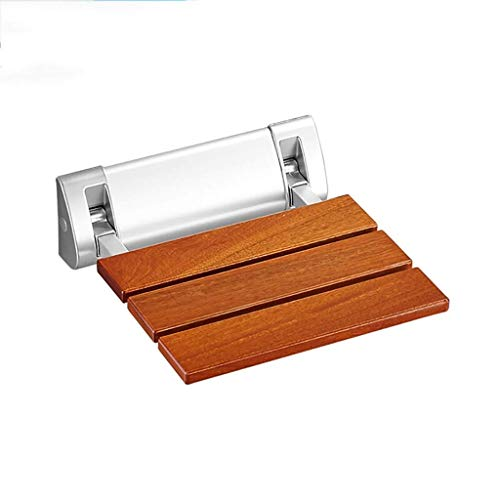 Wood Floding Wall Mounted Folding Shower Seat Stool,Non-Slip Shower Stool Disabled Kids Pregnant Womenelderly Solid Wooden Bench