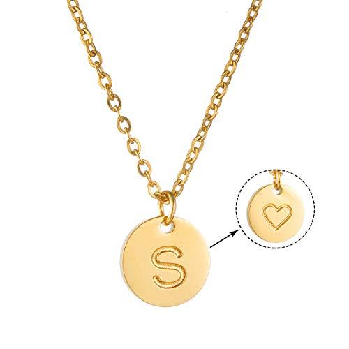 AFSTALR Collar Inicial Mujer Oro Colgante Letra S Nombre Personalizado Corazón Tallado Regalo de San Valentín Cumpleaños