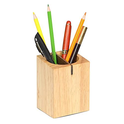 CRAFT KITTIES ペン立て 天然木製 ペンスタンド 仕切り オフィス収納 鉛筆立て(ナチュラル)木目