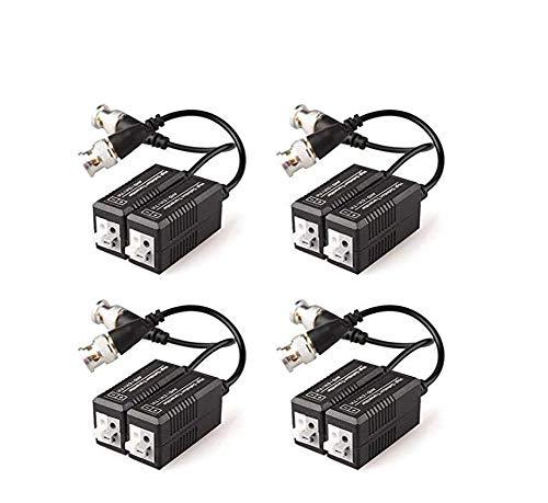 4 Pares Transmisor y transmisor de video balun pasivo con cable para sistema de CCTV de cámara DVR TVP / CVI / TVI / AHD / 960H 1080P, BNC macho a cable UTP CAT5/5e/6/6e, sin necesidad de alimentación