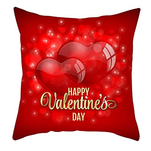 Agoble Cojines para Sofa Modernos, Cojines Decoracion Cama Poliéster 1 50X50Cmfunda Cojin Oro Rojo Feliz Día De San Valentín