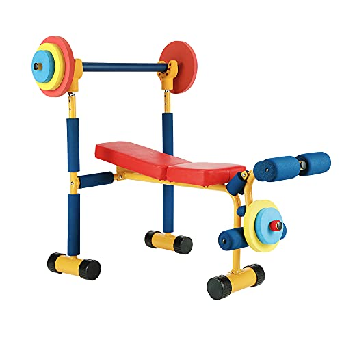 Sandinrayli Kids Workout Equipment, Toddler Weight Bench Set, Indoor Play Exercise Equipment for Kids