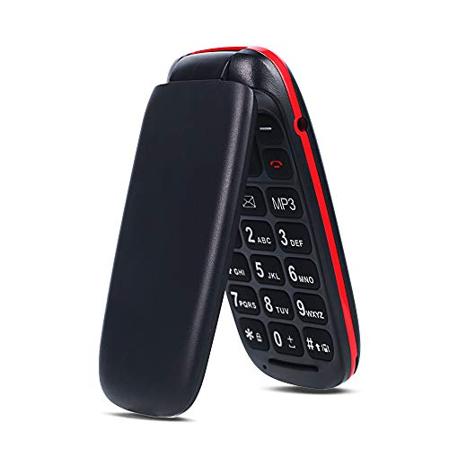Teléfono Móvil con Tapa para Personas Mayores, Ukuu 800mAh Móvil para Mayores Teclas Grandes gsm Dual SIM Fácil de Usar para Ancianos Negro