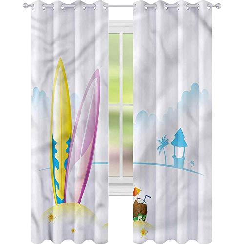 Cortinas para sala de estar, tabla de surf de coco, cócteles, playa, W52 x L63 cortina de reducción de ruido