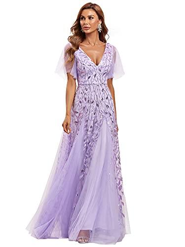 Ever-Pretty Womens Floor-Length V Neck A-line Embroidery Bridesmaid Dress Long Lavender US18