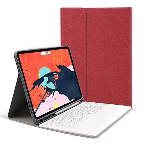 longeg Tablero de Tableta Funda del Teclado Delgado para iPad Pro 12.9 2018 CUBIERTE PROTECTIVO Completo DE Cuero para iPad Pro 2018 Teclado de 12.9 Pulgadas Bluetooth (Color : Red)